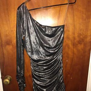 One Sleeve Ruched Mini Dress
